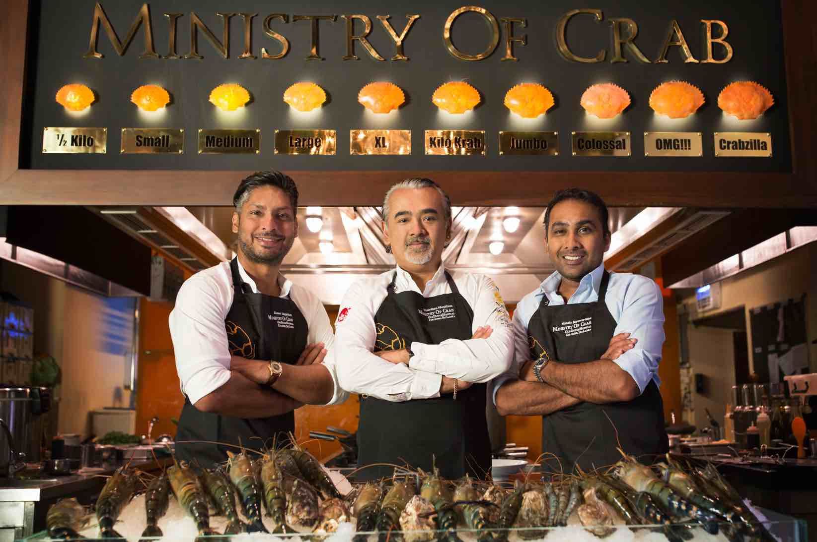 Dharshan Munidasa (middle) founder of Ministry of Crab with two of his chefs