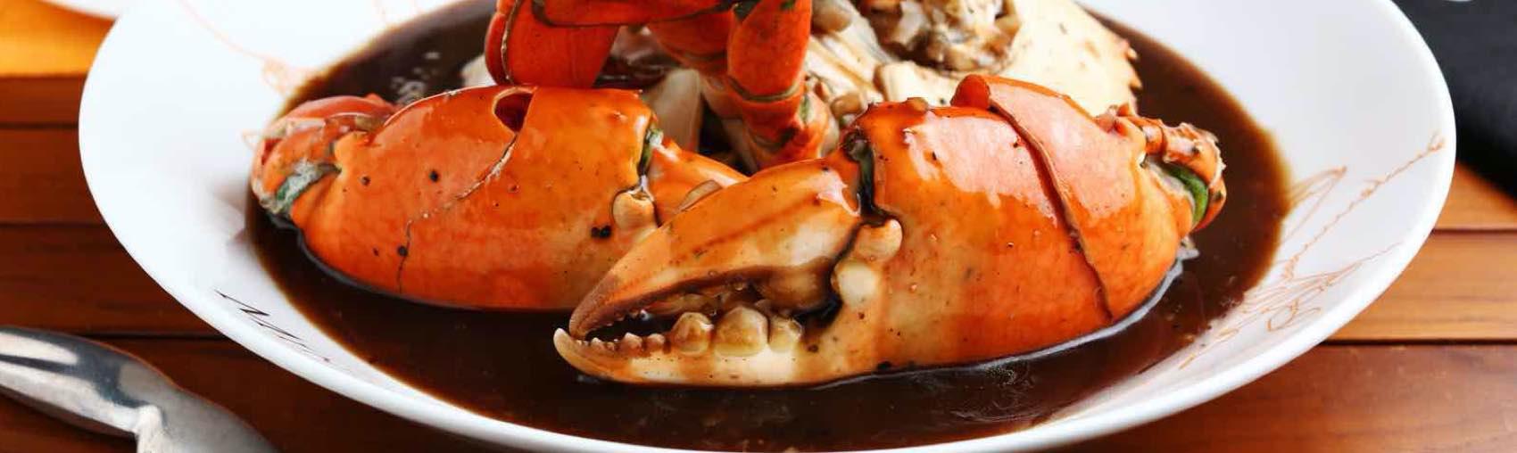 Legg merke til den sorte pepper-sausen som kom med fersk krabbe. En uslåelig kombinasjon