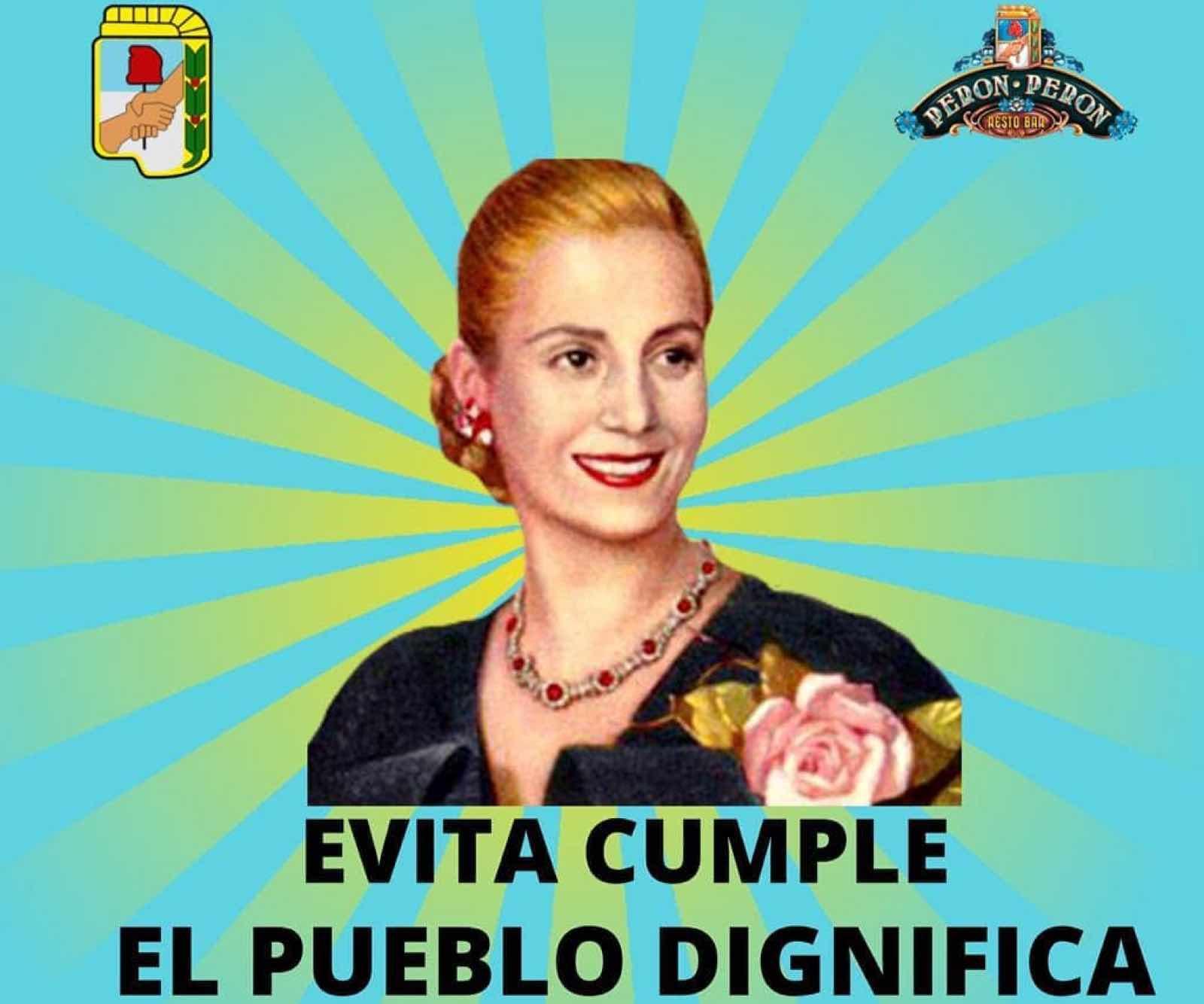 Plakat med Evita Peron på veggen - og et ordtak om å møte mennesker